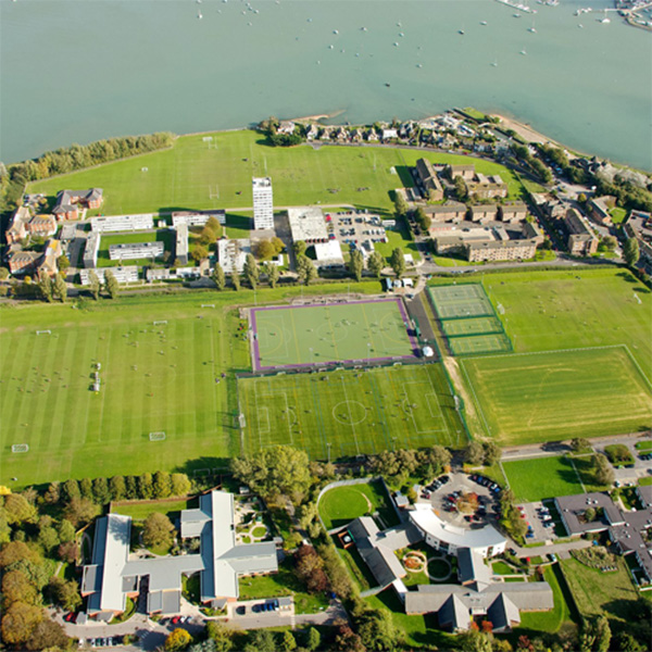 aerial view of the rugby and football outdoor pitches