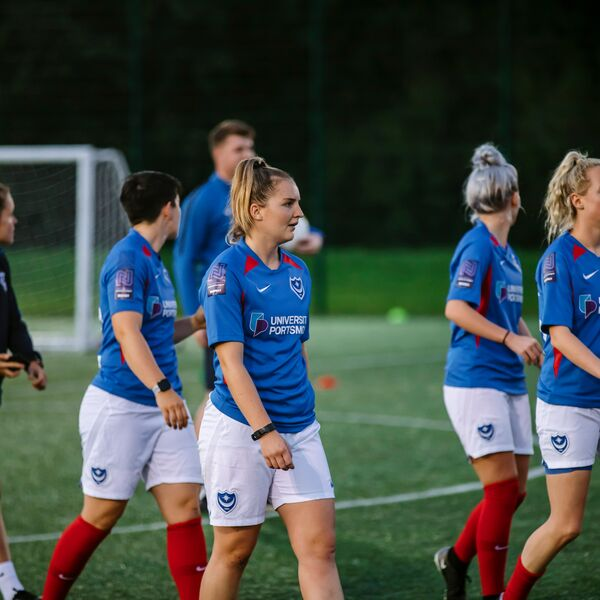 Portsmouth's football club women's team wearing their kit