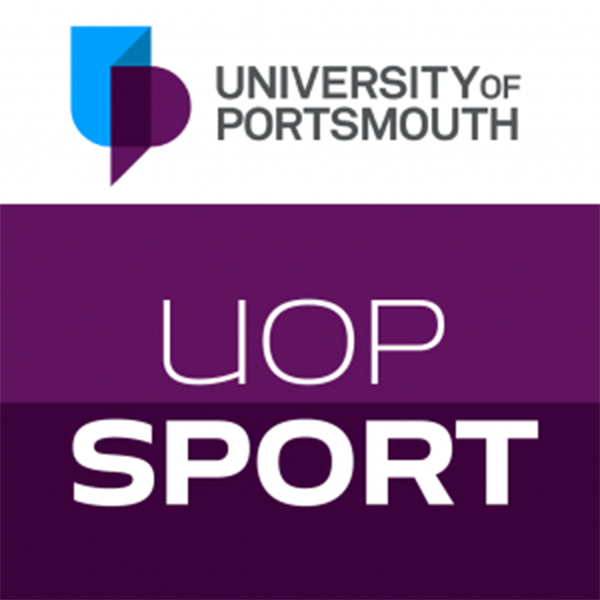 UOP Sport app logo in purple with University of Portsmouth logo at the top