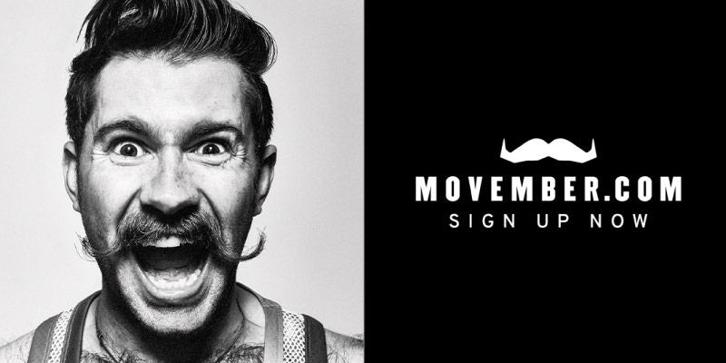 Man with moustache promoting movember